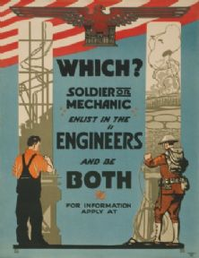 Vintage WWI US Army Engineers Mechanic Recruitment Poster